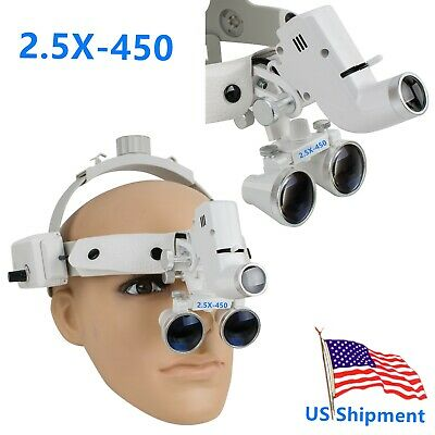 2.5X Headband Dental Magnifier Loupes + Headlight Binocular Glasses cv-288 White