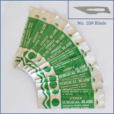 10pc Steel No. 10A Sealed Sterile Surgical Scalpel Blades for Handle #3, 5 Craft