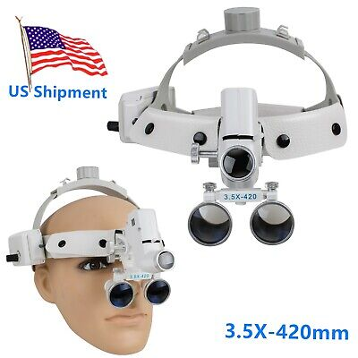 3.5X Headband Dental Magnifier Loupes + Headlight Binocular Glasses cv-288 White