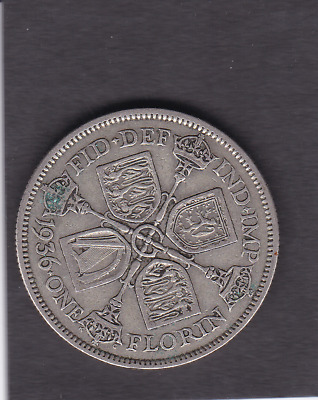 1936 George V Silver Two Shilling/ Florin Coin Collectible Condition ct3