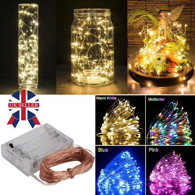 20/30/100 LED Battery Micro Rice Wire Copper Fairy String Lights Party White