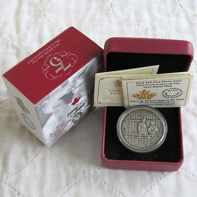 CANADA 2014 FIRST ROYAL VISIT 1oz ANTIQUE FINISH .9999 FINE SILVER $20 -complete