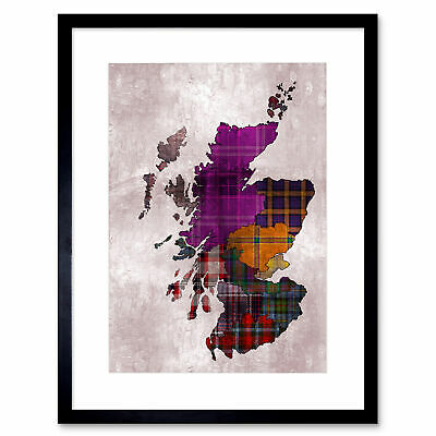 Painting Map Outline Scotland Tartan Inset Regions Framed Wall Art Print 12X16""