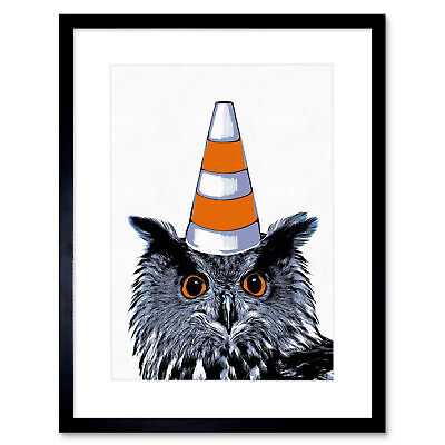 Painting Owl Wearing Traffic Cone Glasgow Style Framed Wall Art Print 12X16 In