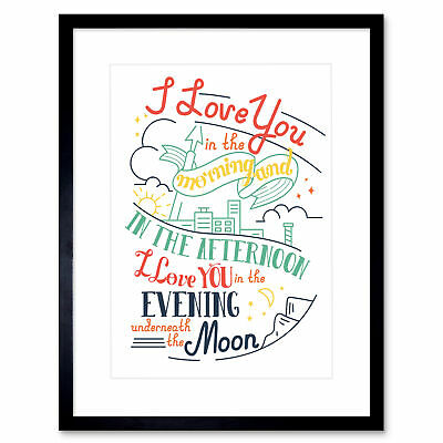 Quote Typography Love Day Moon Skidamarink Framed Wall Art Print 12X16 In