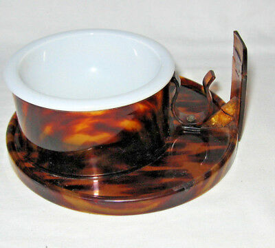 Vintage Shaving Stand Faux Tortoise Shell with Milk Glass Bowl ~Missing Mirror