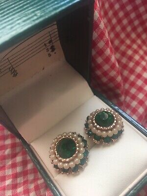 Vintage Emerald Glass Seed Gilt Gold Pearl Gold Earrings 1960s Princess Margaret
