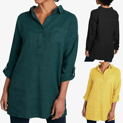 ZANZEA Womens Full Sleeve Collared Casual Loose Tops Cotton Button Shirts Blouse