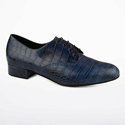 freed of london navy blue croc leather mens ballroom dance shoes UK 13