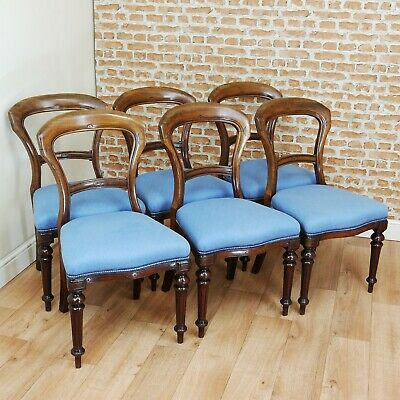 Set of 6 Antique Early Victorian Crown Balloon Back Solid Mahogany Dining Chairs