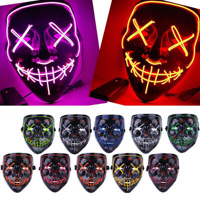 """Light Up Masks """"Stitches"""" LED Costume Mask Halloween Cosplay The Purge / Battery"""