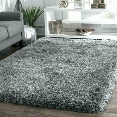 X Large Grey Shaggy Rug Soft Fluffy Plain Thick 5Cm Floor Carpet Rug Es