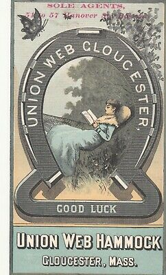Union Web Hammock Gloucester MA Horace  Partridge & Co Jewelry Boston Card 1880s