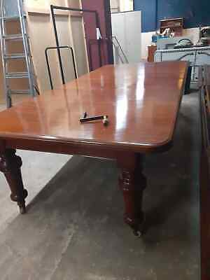Large Wooden Antique Victorian Wind Out Dining Table Seats 6 To 8 with Castors