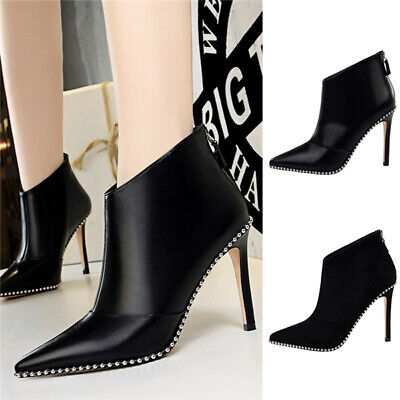Sexy Women High Heels Rivets Ankle Boots Faux Suede & Leather Party Shoes Zip Up
