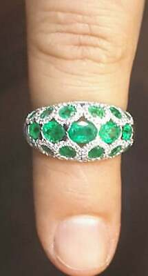 Stunning Round & Oval Shape 3.17CT Green Emerald With Pave White CZ Fashion Ring