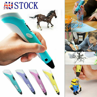 New 3D Stereoscopic Doodler Printing Pen with LCD Screen 4 Colours AU