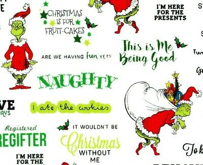 Fat Quarter Christmas The Grinch Who Stole Cotton Fabric Quilting Robert Kaufman