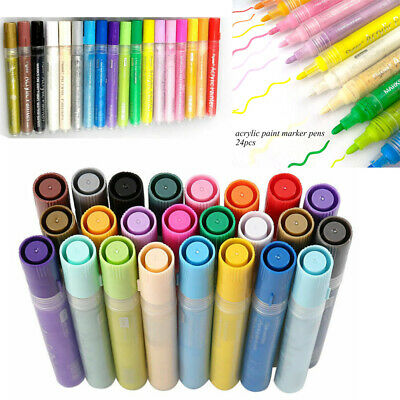 Waterproof 24 Art Acrylic Pen Paint Markers Ceramic Glass Metal Wood Permanent