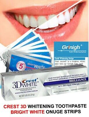 28 x 3D BRIGHT WHITE TEETH WHITENING STRIPS + CREST3D WHITENING TOOTHPASTE
