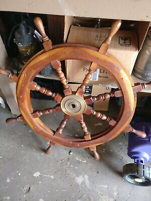 "Large 36"" 8 handle Boat Ship Wooden Steering Wheel Brass Center Nautical"