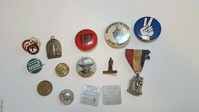 Vtg. junk drawer lot pin backs 1940 football medal tokens religious med and more