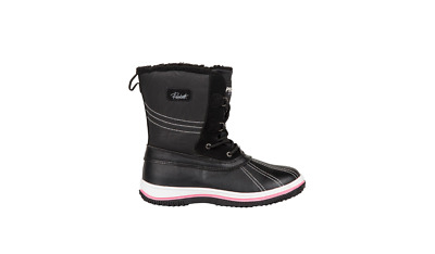 Womens Snöe Black Textile Fleece Lined Pull On Knee High Snow Boots UK 5 UK 7