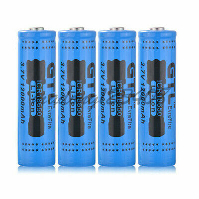 2-16X 18650 3.7V 12000mAh Rechargeable Battery For LED Flashlight Torch Camera