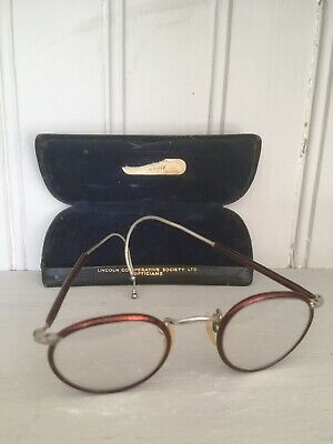 Old Vintage Wire Rim Glasses With Case