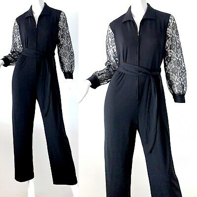 70s Vintage Lace Black Mod Belted Party Evening Jumpsuit Small