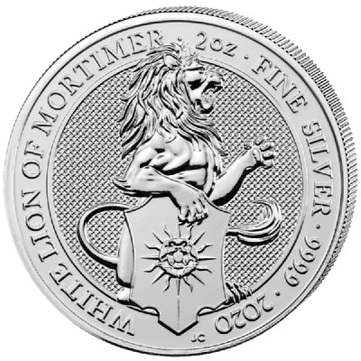 Queens Beasts White Lion of Mortimer 2020 2 OZ Unze Silber Silver Großbritannien