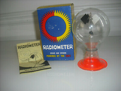 Vintage Radiometer Space Age Sphere Retro Sun Solar Powered In original Box real