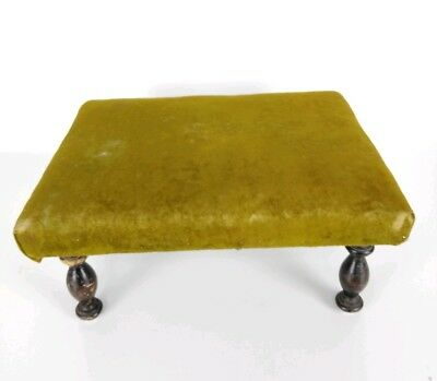 Antique 1800's Victorian Green Velvet Wooden Footstool