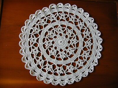"""WHITE Crotchet Cotton 8"""" DOILY hand made for table or Porthole in Narrowboat"""