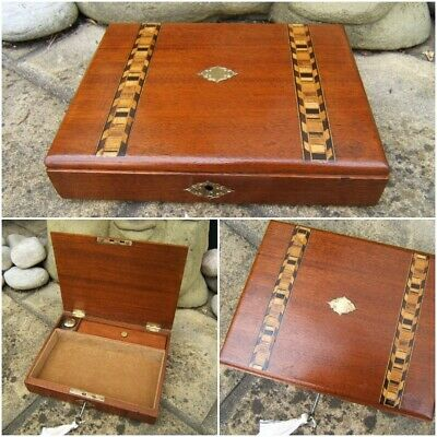 Lovely 19C Small Mahogany Inlaid Antique Writing Box - Fab Interior