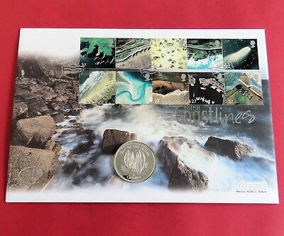 ISLE OF MAN 1998 YEAR OF THE OCEAN ( SAILING ) SILVER PROOF CROWN - coin cover