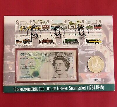 ISLE OF MAN 1998 THE ROCKET SILVER PROOF CROWN WITH £5 BANKNOTE - coin cover