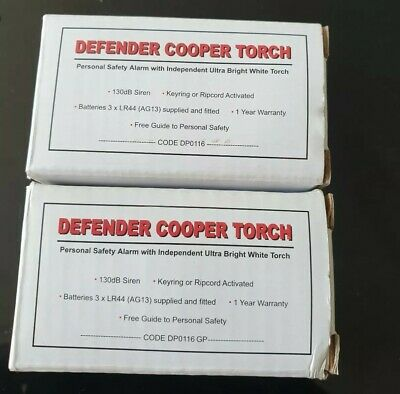 2 X Defender Cooper Torch Personal Safety Alarm With Torch Pink Black
