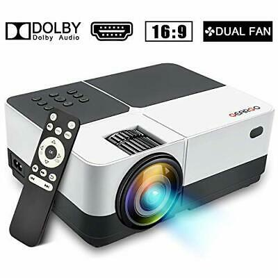 Projector, GEARGO Video Projector Supports Full HD 1080P 185'' Display and 2800