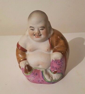 Beautiful Chinese Famille Rose Porcelain Buddha with Carved Mouth