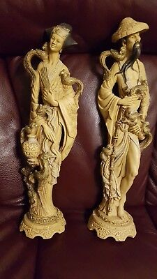 Couple Vintage Large Heavy Chinese/Asian Resin Figurines