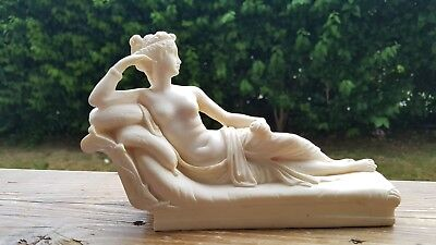 Greek Hand Made Alabaster Statue/Figurine of Paolina Bonaparte as Venus Victrix