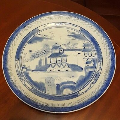 Antique Large Chinese Blue and White Porcelain Plate