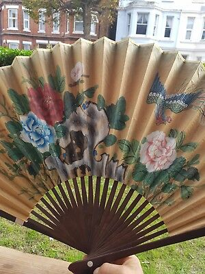 Old Large Chinese Hand Fan/ Wall Decor/ Collectible