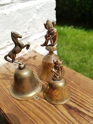 Antique/ Vintage Set of Three Brass Bells Collectible Two Pixies and One Horse