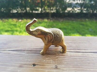 Beautiful Brass Elephant Miniature Figurine Desk Ornament