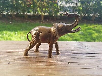 Small Beautiful Brass/ Bronze Elephant Figurine/ Paperweight/ Desk Ornament