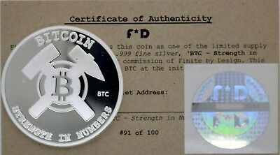 Bitcoin BTC Strength in Numbers .999 Silver Physcial #91/100 Unfunded Coin BTC
