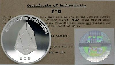 EOS Decentralize Everything .999 Silver Physcial Bitcoin #40/100 Unfunded Coin