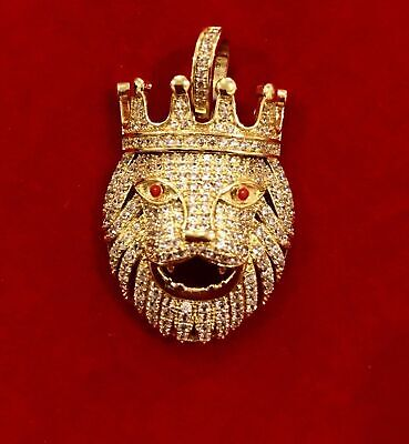 Men's 14K Gold Finish  LION HEAD KING WITH CROWN Pendant Charm Pc